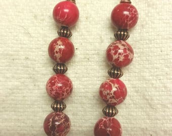 Red Sea sediment jasper earrings w/ copper beads and earwires