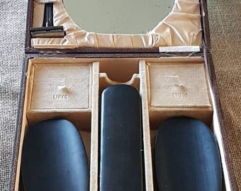 Antique Men s Grooming Set in Real Ebony- 7 Pieces- Made in England!