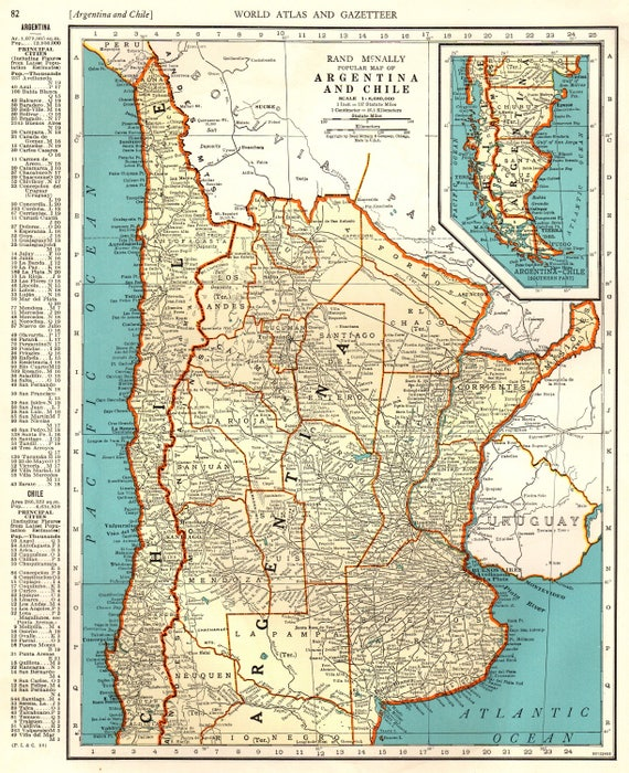 Antique argentina map chile map 1941 vintage map of argentina like this item gumiabroncs Gallery