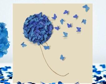 Blue Hydrangea Card, Flower Card , Happy Birthday Flower Card, Mum Birthday Card, Hydrangea Card, Butterfly Card, Thinking Of You card