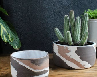 Marbled Clay Planter - Modern Minimalist Home Decor