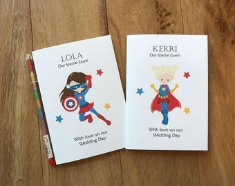 A6 Personalised Childrens Kids Girls Wedding Activity Book Pack Favour MARVEL Superhero Inspired