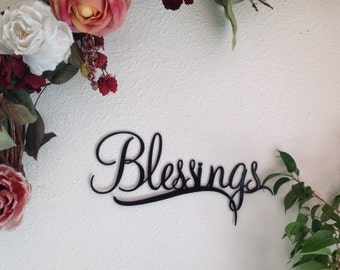 Blessings, metal wall art, sign, Blessings wall decor, wall art, home decor, wall decor, housewarming gift, gift for her, sign