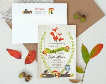 Woodland Fox Invitations - Fox Baby Shower Invitation -  Woodland Animals Birthday Party Invitations - Woodland Baby Shower Invitations