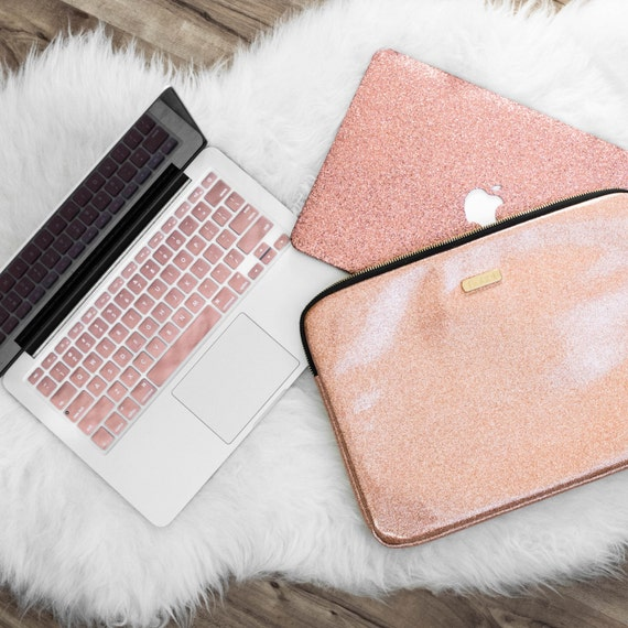 Rose Gold Glitter Macbook Case Keyboard Cover And Laptop