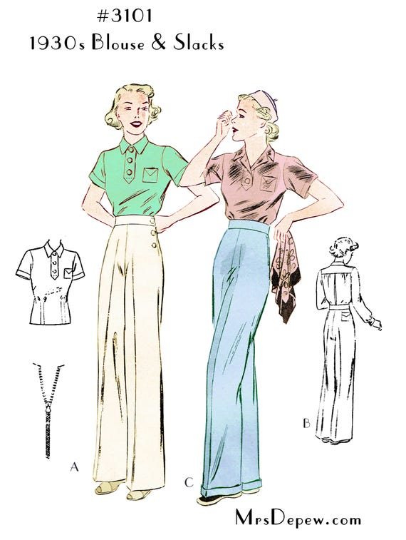 1930s Fashion Colors & Fabric Pattern 1930s Ladies Blouse and Slacks #3101 - INSTANT DOWNLOADVintage Separates Sewing Pattern 1930s Ladies Blouse and Slacks #3101 - INSTANT DOWNLOAD $9.50 AT vintagedancer.com
