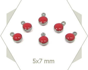 10 mini charms in bright red enameled steel AC64