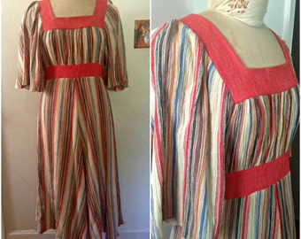 1960s Boho Striped Vintage Dress // medium 8 10 flutter sleeve fit and flare hippie flower child festival sixties