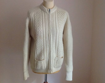 70s Wool Fisherman Sweater Cream Zip Cardigan Cable Knit Crew Neck Medium