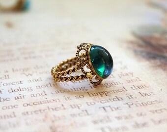 Vintage West German Adjustable Brass Ring // Filigree Ring // Glass Cabochon // Choose Your Color // New Old Stock // Vintage Ring
