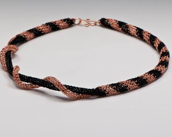 "Necklace, Hand-knit Copper & Black Cord Necklace, ""Breaking Out"""