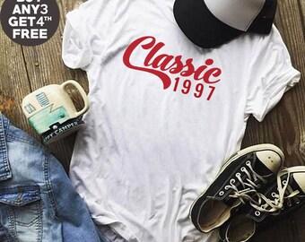 Classic Tees 21st Birthday Gifts 1997 Tshirt Birthday Shirt Gifts Ladies Tshirt Birthday Funny Cool Shirt Men Tshirt Women Shirt Ladies Tee