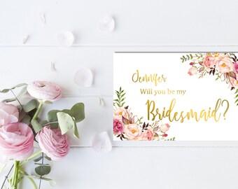 Gold Boho Personalized Printable Will You Be My Bridesmaid Card, Pink Floral Boho Bridesmaid Card, Peonies Bridesmaid Card, Download 110-G