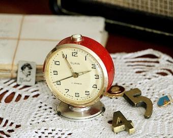 Red Alarm Clock - Vintage Soviet Clock - Desk Clock - Wind Up Clock - Table Clock - Small USSR Clock - Birthday Gift