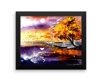 Framed photo paper poster - abstract painting, tree, landscape, sunrise, purple, gold