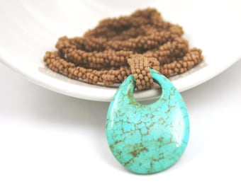 Turquoise Beaded Rope Necklace . Beadweaving Jewelry . Turquoise Pendant . Unique OOAK Jewelry . Southwest Style Jewelry