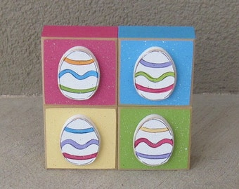 4 BLOCK Easter themed set with an easter eggs for desk, shelf, mantle, holiday, April, Easter Decor,  home decor