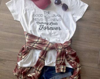 FOREVER SHIRT...White T-Shirt, Adult, Graphic T, Good, Bad, Infinity