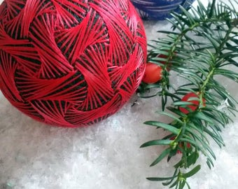 Red Temari ball, Japanese embroidery, Oriental home decor, Silk bauble, Anniversary gift, Sacred geometry,