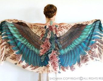 Womens Cape Scarf, Floral Kimono Scarf, Bohemian Shawl, Silk Scarf, Silk Shawl, Boho Wrap, Womens Wrap, Bridesmaid Scarf, Women Scarf