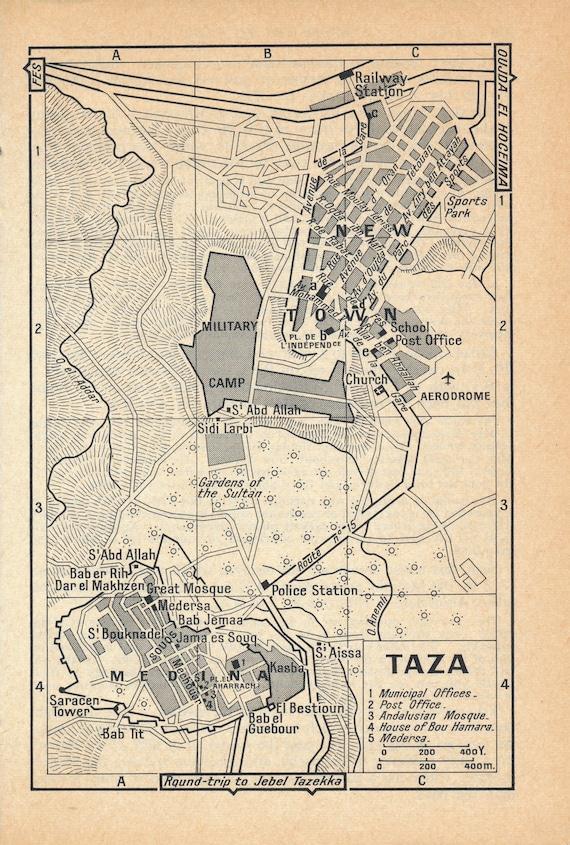 1966 Taza Morocco Vintage Map