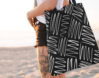 Squiggle Black and White Tote Bag, Totes, Reusable, Beach Bag, Bags, Tote Bags, Tote, Big Tote Bag, Grocery Bag, Shoulder Bag, Market Bag