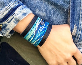 Leather Cuff Women's Bracelet Wrap, Ocean Blues Digital Print on 100% Genuine Leather