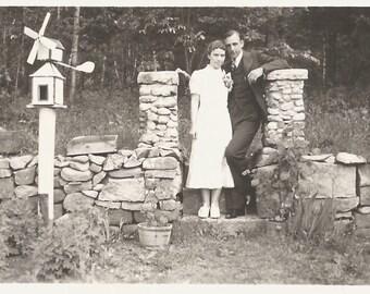 "Vintage Snapshot ""Wedding Day"" Bride And Groom Pose In Garden Near Whirly-Gig Birdhouse 1937 Wedding Picture Found Vernacular Photo"