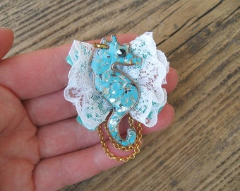 Sea horse brooch with lace, Animals jewelry, sea world, Blue handmade brooch seahorse, Beach jewelry Small gift for her