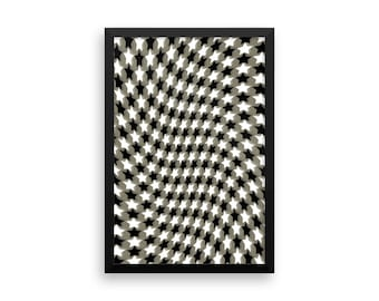 """Framed poster """"Flowing Stars"""" Army Green Optical Illusion Stars"""