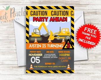 Construction Birthday Invite Invitation 5x7 Digital Personalized Excavator Bulldozer Caution Tape Traffic Cones Boy's Birthday #40.0