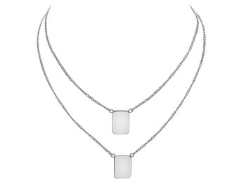 WHITE STERLING SILVER curb chain scapular necklace