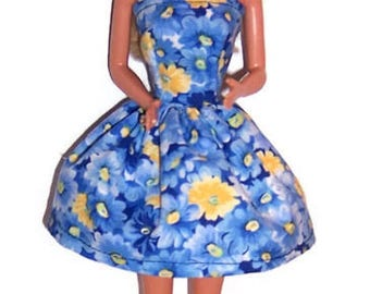 Fashion Doll Clothes-Blue/Yellow Floral Strapless Party Dress