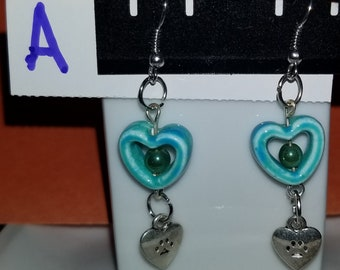 Blue heart with various colored beads and dangles