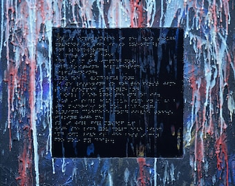 Original wax and acrylic abstract painting Braille text poem for the blind 20x20 tactile texture