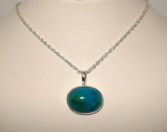 Chrysocolla Gem Silica- Sterling Silver- Necklace