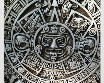 Mayan Calendar- Yucatan Peninsula, Mexico /  10 X 10 Photo Print/ Affordable Home Decor/ Fine Art Photography/ Fall Decor