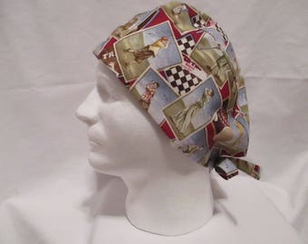 Men's Scrub hat with Vintage Golf Theme on Red