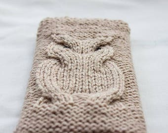 Owl Phone Sock/Case hand knitted Phone Sleeve, phone case, Smartphone, iPhone 7, Samsung Galaxy, ALL Phone Sizes