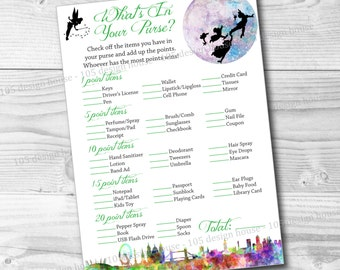 INSTANT DOWNLOAD Peter Pan Baby Shower Game Printable - Peter Pan Whats in Your Purse - Peter Pan Baby Shower Printable- Whats in Your Purse