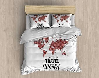 World Map Travel Duvet Cover, Kids Bedding , Designer Bedding , Bedroom Decor , Dorm Bedding , Geometric