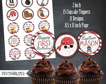 Pirate Cupcake Toppers, Pirate Favors, Pirate Tags, Pirate Party, Pirateship Cupcakes, Pirate Skulls, Personalized, Printables, Digital, DIY