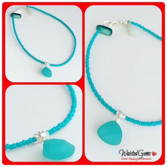 Turquoise Anklet, arm band, Waist Beads, jewelry, body chain, waist beads, waistbeads, Sea Glass