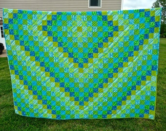 """Sunshine & Shadow Queen Size Quilt, 78"""" x 95"""", Made to Order"""