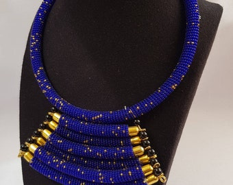 Royal blue statement necklace, blue gold necklace, necklaces for women, beaded necklaces, unique jewelry, handcrafted jewelry