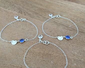 personalized heart bracelet with birthstone heart jewelry monogram initial letter bracelet sapphire swarovski girls bracelet heart jewelry