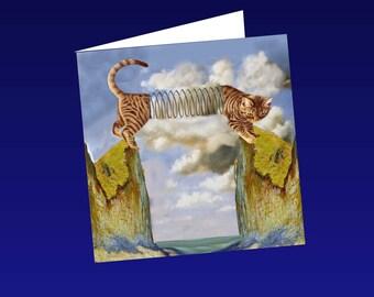 Cat, cat greeting card, cat art: the long cat
