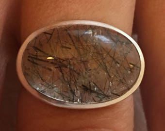 Sterling 925 silver ring, natural quartz tourmaline / size 54