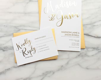 Gold Foil Wedding Invitation Suite // Custom Wedding Invitations // Calligraphy Wedding Invitation // Modern Wedding Invitation // RSVP Card
