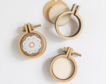 "3 Tiny Embroidery Hoops | 1"" (25mm) Embroidery Hoops from Dandelyne, Circular Mini Hoops, DIY Jewelry Hoop Art"
